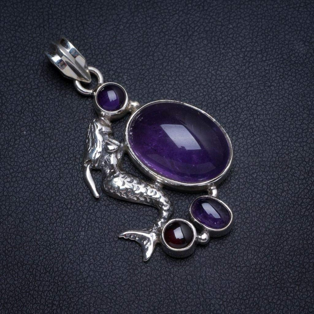Natural Amethyst Handmade Unique 925 Sterling Silver Pendant 1.5 X0065