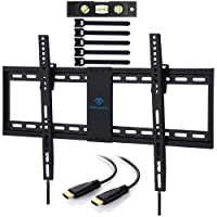 TV Wall Mount Bracket Tilt Low Profile for Most 32-70 inch LED, LCD, OLED, Plasma Flat Screen TVs with VESA up to 60kg 600x400mm - Bonus HDMI Cable and Cable Ties by PERLESMITH
