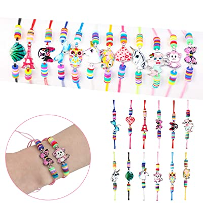 Kapmore 12 Pcs Kids Girls Women Bracelets Jewelry Animal Pendant Unicorn Owl Cute Bracelet Multicolor Woven Bracelets for Prize Pretend Play Party Favors for Girls Kids Friendship Bracelets: Toys & Games