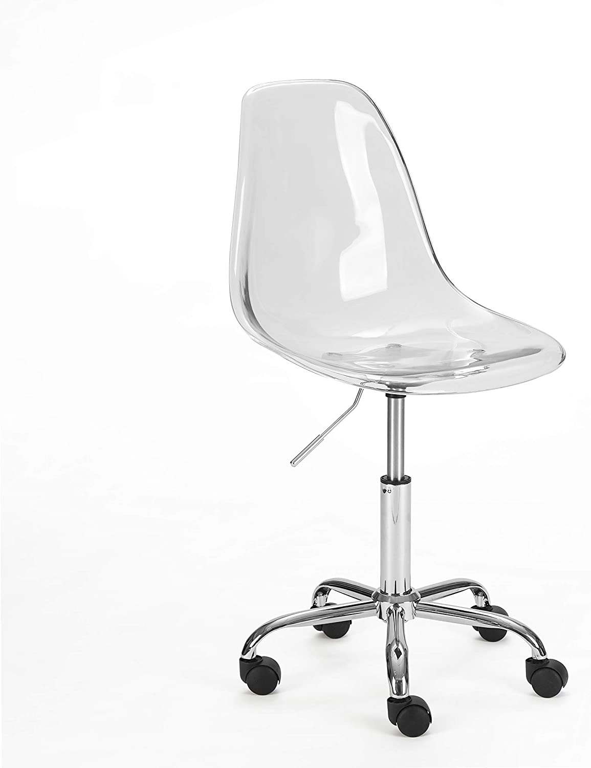 Urban Shop Acrylic Rolling Chair, Clear