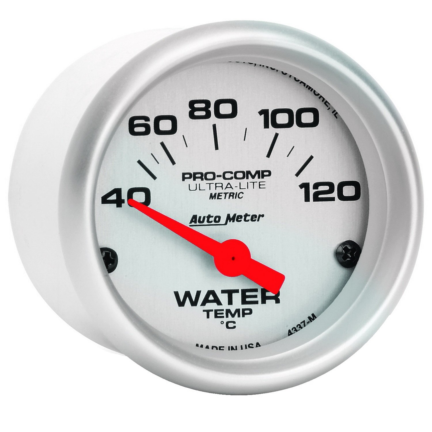 Auto Meter 4337-M Ultra-Lite Electric Water Temperature Gauge by Auto Meter