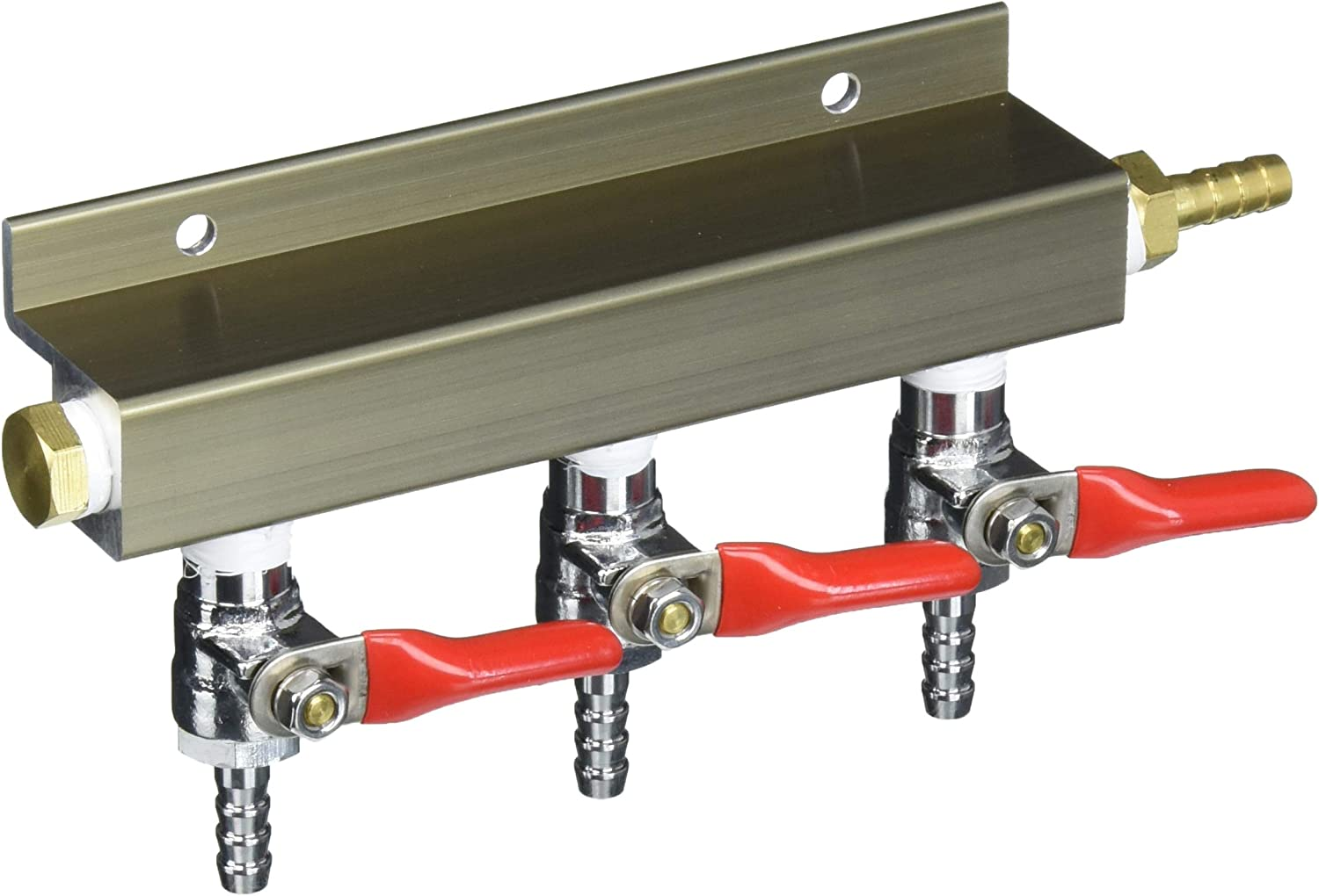 """3-way 1/4"""" Barb CO2 Distributor Manifold with integrated check valves by The Weekend Brewer"""