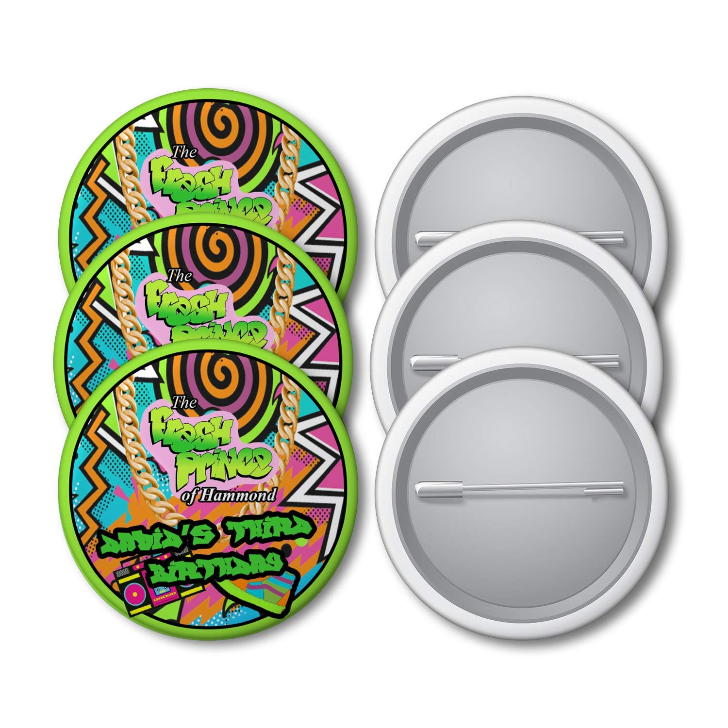 12 Personalized Fresh Prince of Bel Air Button Pins Fresh Prince Birthday Party Pins Pushback Pins 2.25 inches Fresh Prince Party Supplies Fresh Prince Party Favors Plastic Button Pins