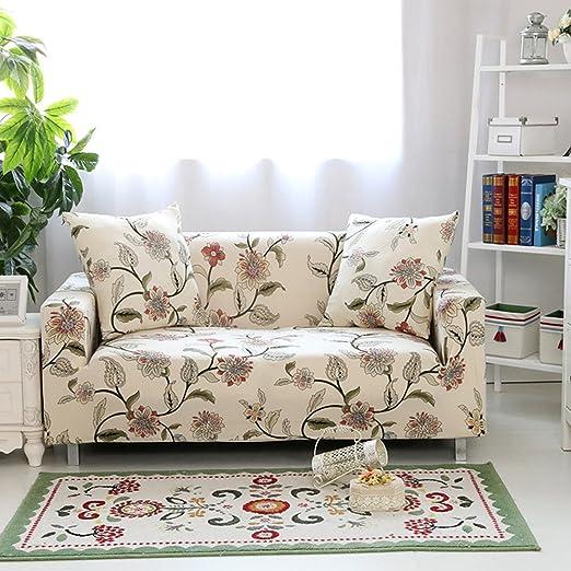 Hysenm - Funda de sofá de 1/2/3/4 plazas, cubre sofá ajustable, suave, elástico, colores auténticos de flores, tela, beige, 2 Sitzer 145-185cm