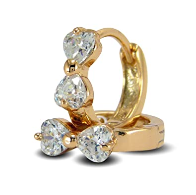 Blue Diamond Club - Womens Heart Shaped 18ct Gold Filled Stud Earrings with White Cubic Zirconia iFyu5