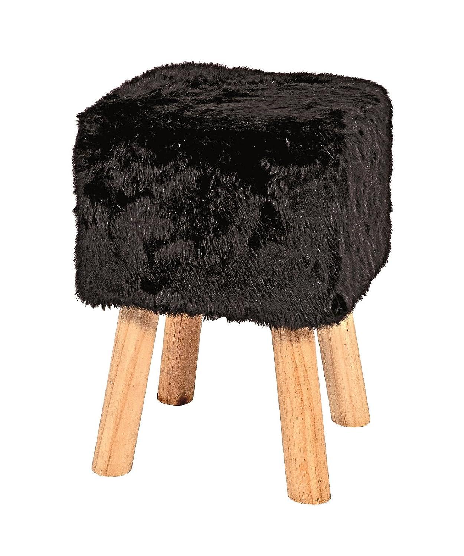 Hocker mit Felloptik schwarz und Massivholz Füsse; Maße (B T H) in cm  30 x 30 x 40