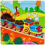 Fulltime® Bébé jouet éducatif, 16 pièce puzzle en bois jouets les enfants pour l'enseignement apprentissage des Puzzles