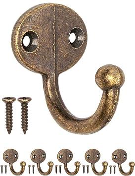 FUXXER® – Antik Ganchos Perchero de Ganchos de Toalla, Ganchos para ropa de hierro fundido de latón bronce Diseño de Vintage rústico Retro Juego de 6