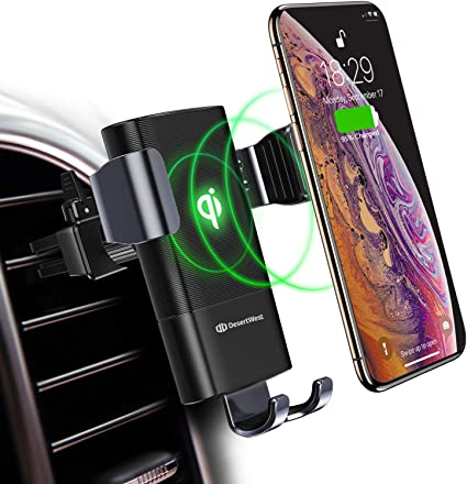 Fast Car Charger Mount Compatible with Samsung Galaxy S9//S9+//S8//S8+//Note 8 iPhone Xs Max//Xs//XR//X// 8//8 Plus Wireless Charger One-Hand Operation Elecable Auto-Clamping Design and Other All Qi Phones