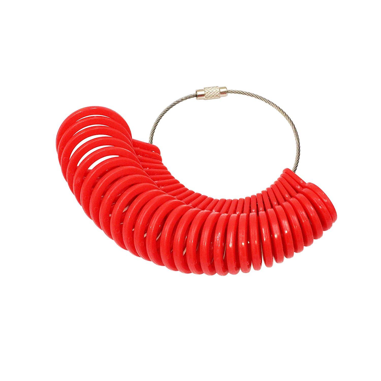 Cnmade 27pezzi plastica anello Sizer dito gauge Jewellery kit attrezzo misuratore per anelli diametri Purple HBM0015