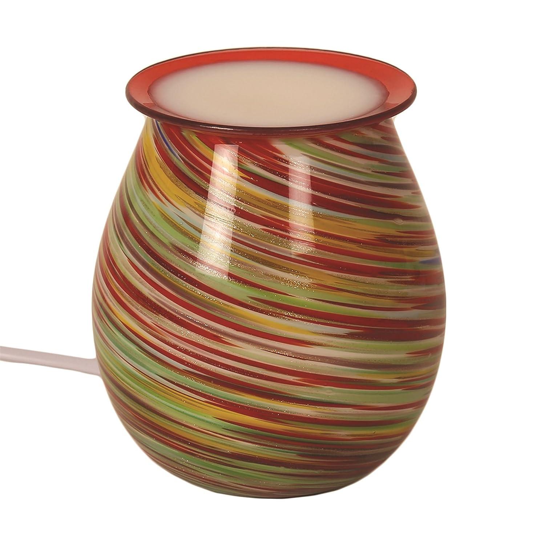 Aroma Accessories Red Tones & Glitter Swirl Design Glass Art Electric Wax Melt Burner AR1131 Aromatize