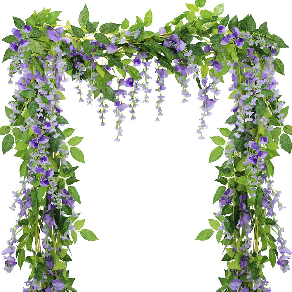 Supla Pack of 3 Wisteria Garlands Artificial Purple Wisteria Artificial Flower Vine - 6.6' Long - 6 String Flowers for Home Garden Outdoor Yard Ceremony Wedding Arch Floral