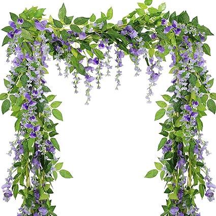 Amazon supla pack of 5 artificial wisteria vine in purple silk supla pack of 5 artificial wisteria vine in purple silk wisteria garland hanging silk flowers string mightylinksfo