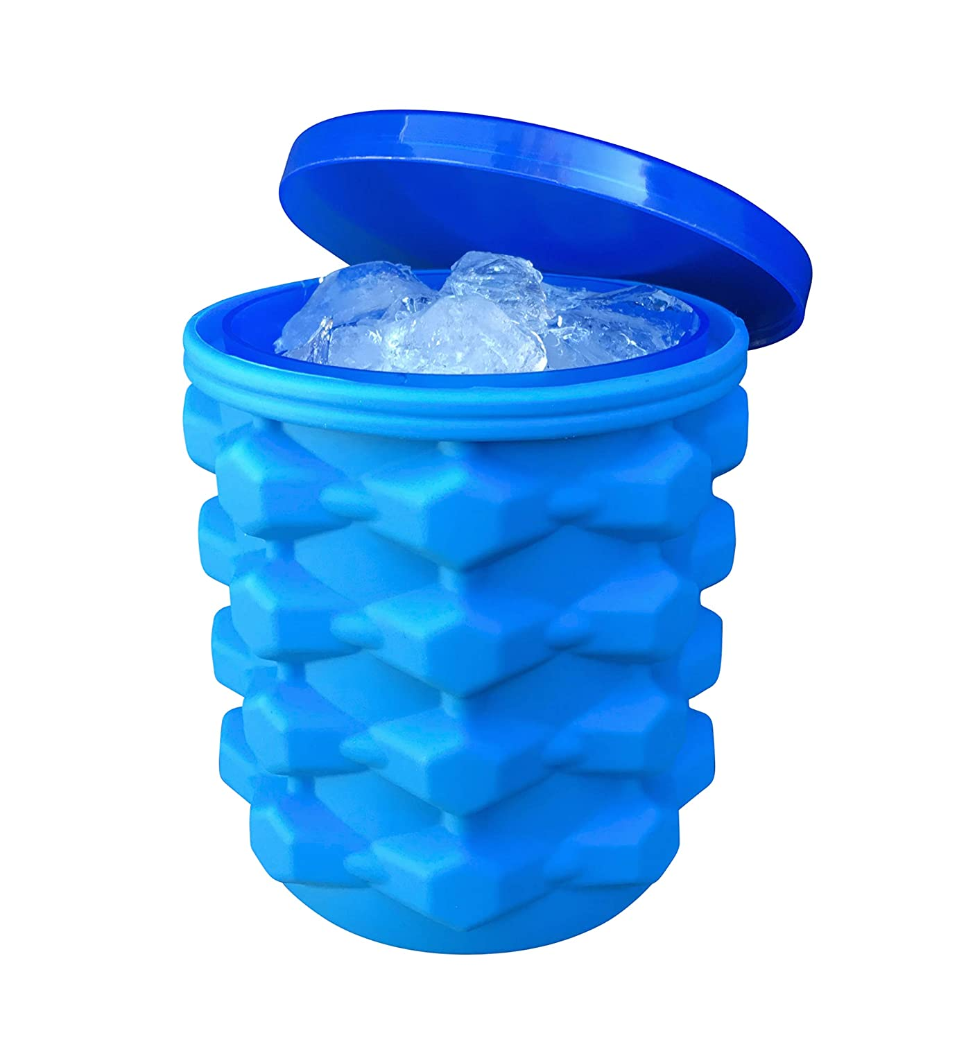The Ultimate Ice Cube Maker Silicone Bucket with Lid Makes Nugget Ice Chips for Soft Drinks, Crushed Ice Tray Mold, Wine Chilling Bucket Magic Ice Maker Bucket Ice Chamber Ice Cube Cylinder