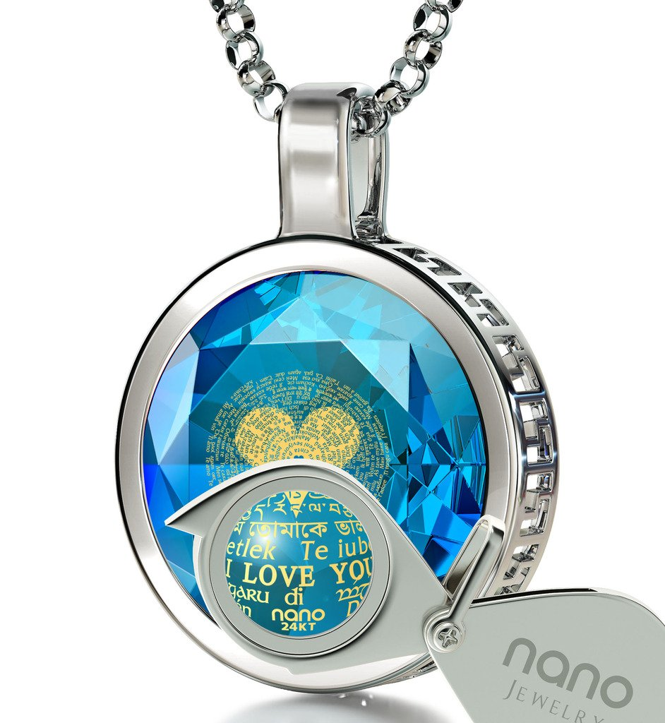 925 Sterling Silver I Love You Necklace 120 Languages 24k Gold Inscribed Blue Cubic Zirconia Pendant, 18''