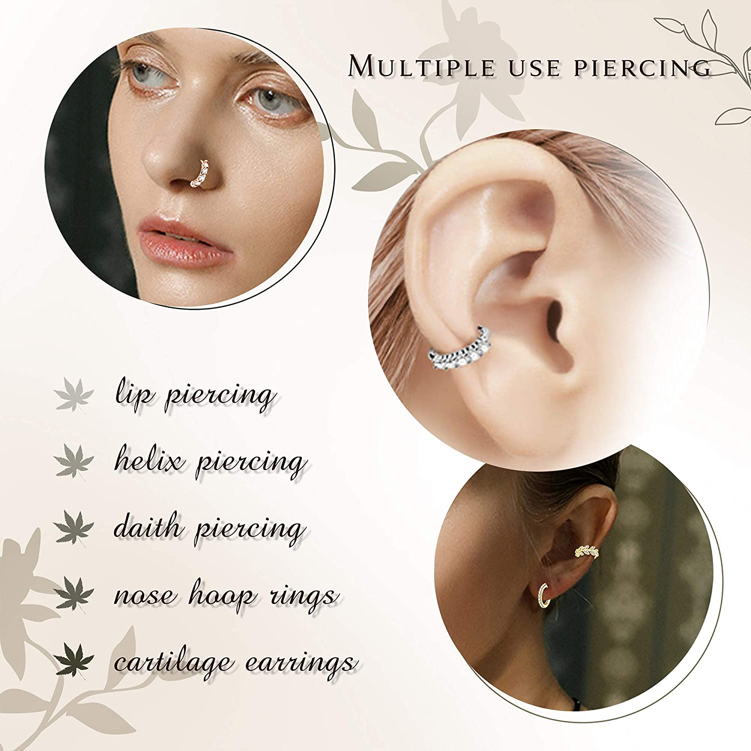 Thunaraz 9Pcs 20G Stainless Steel Nose Ring Hoop Stud Paved CZ Leaf Feather Flower Crawler Nose Ear Cartilage for Women Nose Ear Piercing Hoop