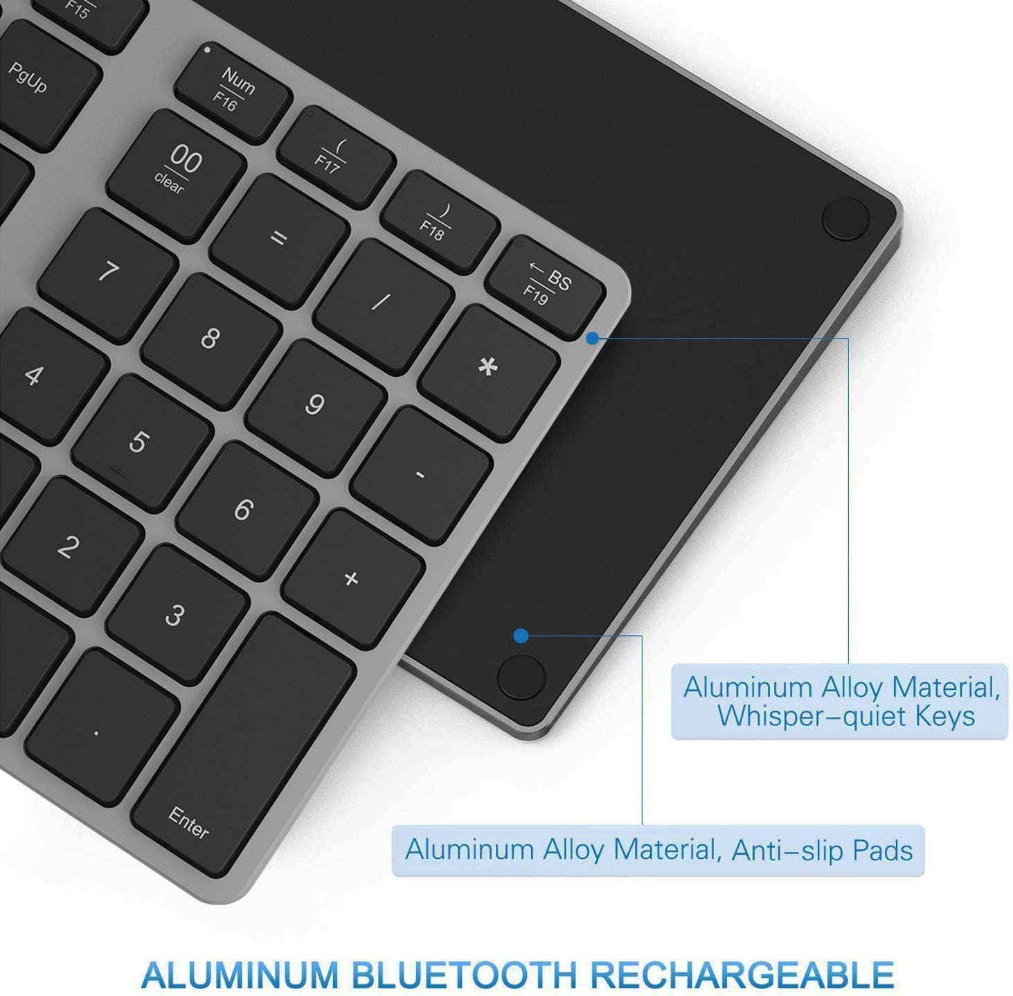 Programmable Bluetooth Number Pad Macbook Air//Pro Acedada Portable Slim 35-Keys External 10 Key Numpad Keyboard for Laptop Aluminum Rechargeable Bluetooth Wireless Numeric Keypad etc iMac Windows