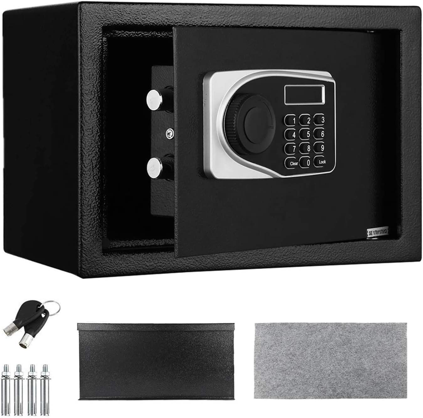 Electronic Security Safe Box, LED Digital Lock Box 0.57 Cubic Feet, 13.7 x 9.8 x 9.8 inches Key Combination Code Safe Box Steel Money Box for Home, Office, Hotel