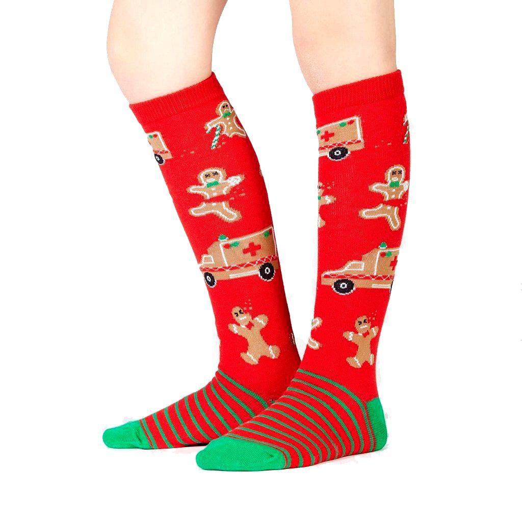 Sock It To Me Junior Boys Girls Knee High Socks Ages 7-10 Break Leg Gingerbread