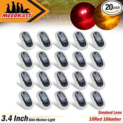 Pack of 5 2.5 Inch Clear Lens Amber LED 2 Diodes Side Marker Light Sealed Surface Mount Car Trailer SUV Truck Van Lorry ATV Camper Bus w//Chrome Bezel 10-30V DC Waterproof LM-CHS Meerkatt