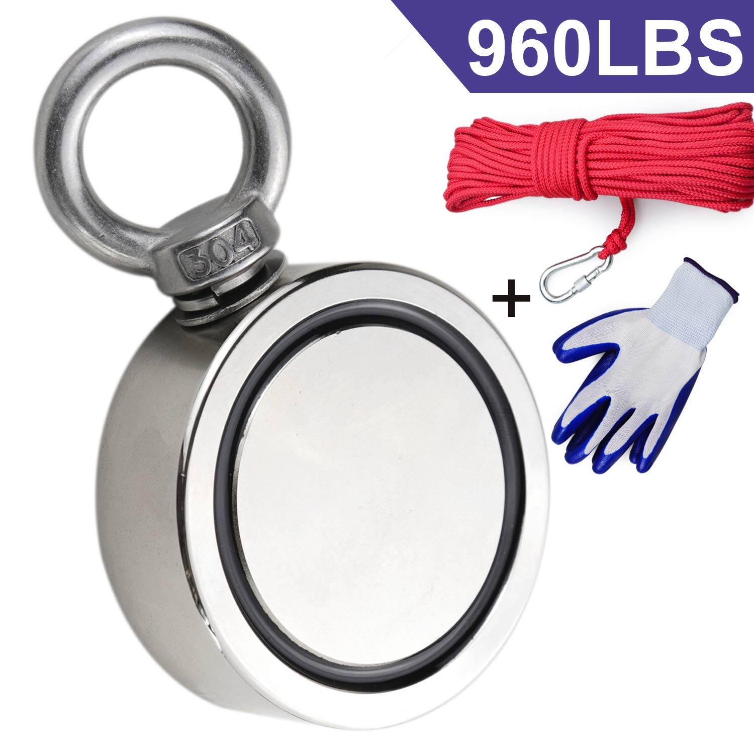 Double Sided Neodymium Fishing Magnet, Combined 960lbs(436KG) Pulling Force, Super Strong Fishing Magnet, Diameter 2.95inch (75mm), Perfect for Retrieving in River and Magnetic Fishing
