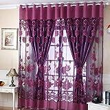 OVERMAL 250Cm * 100Cm Floral Voile Porte FenêTre Divider Divider éCharpe Rideau (Violet)