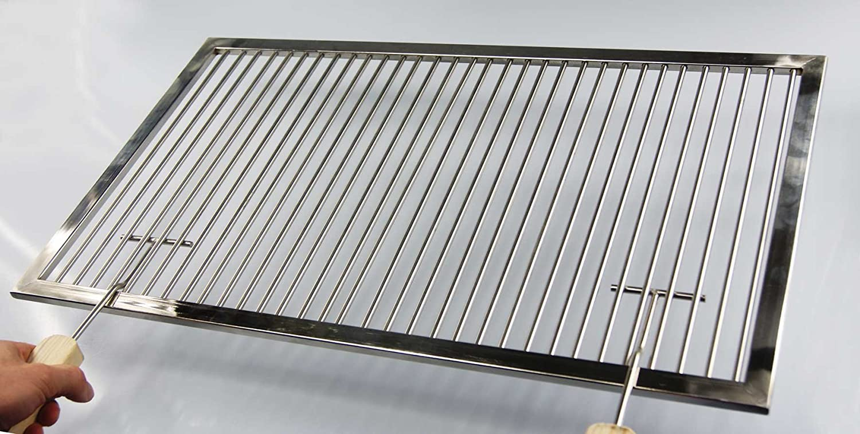 PREMIUM Grillrost Edelstahl 58 x 38 cm + 2 Griffe passend für WEBER E-210 bis 2012 Grill Gasgrill Hersteller Herstellung