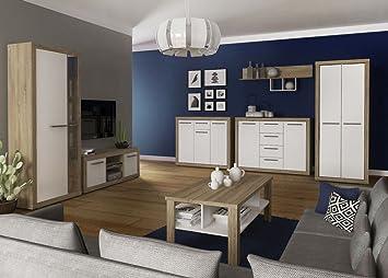 Wohnzimmer Komplett - Set A Madryn, 7-teilig, Farbe: Eiche Sonoma ...