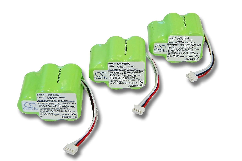 vhbw 2x Batería Ni-MH 3300mAh (6V) para aspirador Hoover Robot RVC0010, RVC0010, RVC0011, RVC0011-001 como 945-0006, 945-0024, LP43SC3300P5.