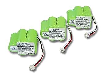 3x vhbw Ni-MH batería 3300mAh (6V) para aspiradora Hoover Robot RVC0010, RVC0010, RVC0011, RVC0011-001 por 945-0006, 945-0024, LP43SC3300P5.