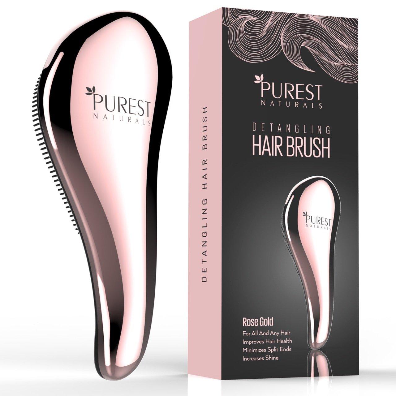 Purest Naturals Chrome Detangling Hair Brush Set - Best Detangler Wet Shower Comb For Women, Men, Girls & Boys - Detangle Knots Easily