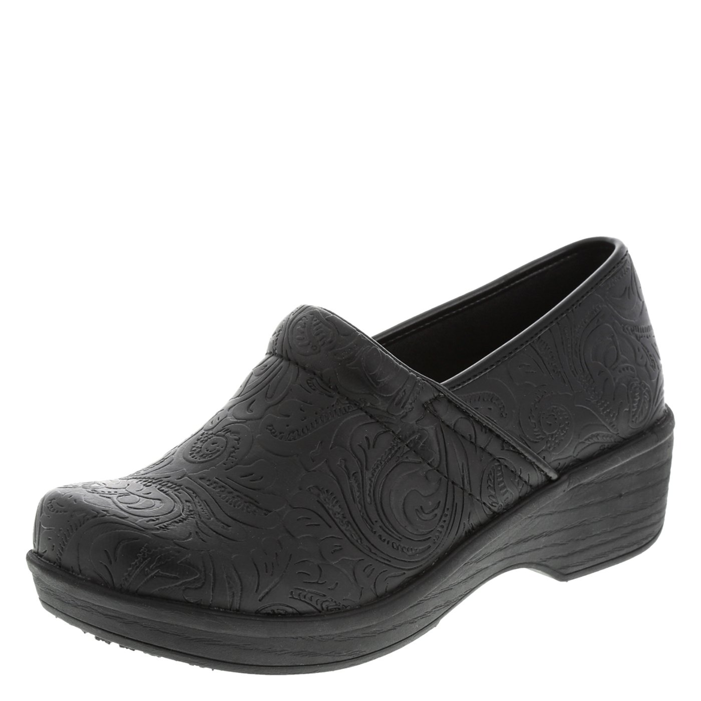 safeTstep Embossed Black Paisley Women's Slip Resistant Gretchen Clog 11 Wide