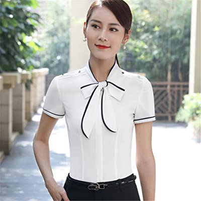Aworth New Summer Professional Bow Shirt Women OL Elegant Formal Patchwork Short Sleeve Slim Chiffon Blouse Office Ladies Plus Size Top
