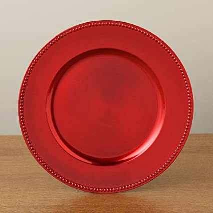 the christmas boutique elegant red beaded charger plate - Christmas Charger Plates