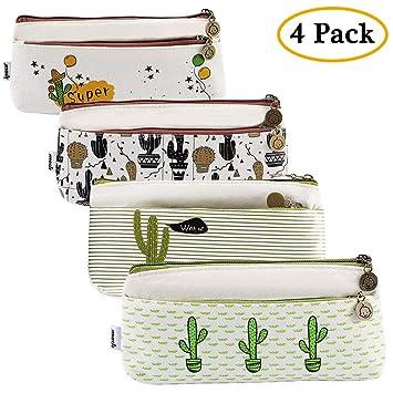 Ipow[4 PCS] - Estuches escolar cactus, Estuches escolares dos cremalleras para oficina, estudiante, escuela, suministros para niños, niñas, bolígrafo: Amazon.es: Oficina y papelería