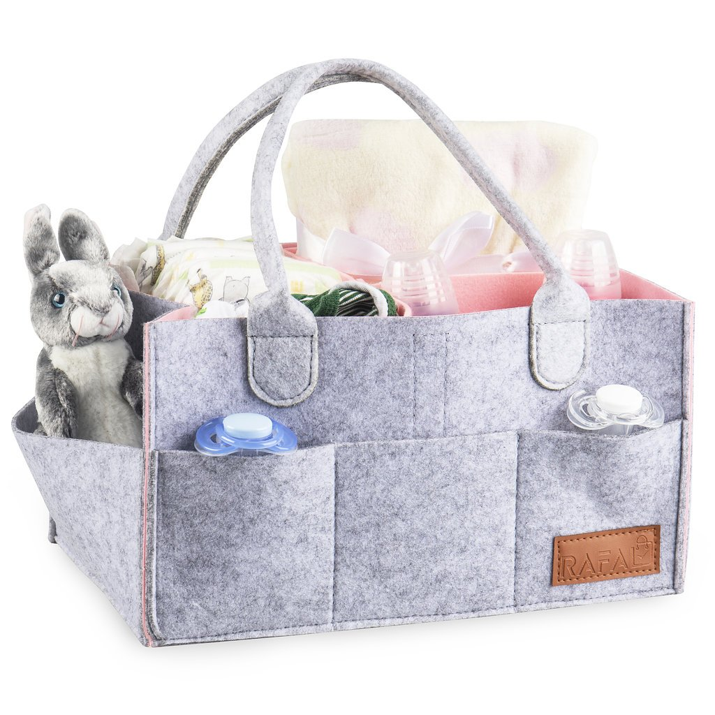 Baby Diapers Caddy Organizer for Boys and Girls Travel Bag Portable Nursery Basket Storage Bin,Baby Shower Gifts - Pink by RAFAL (Image #3)