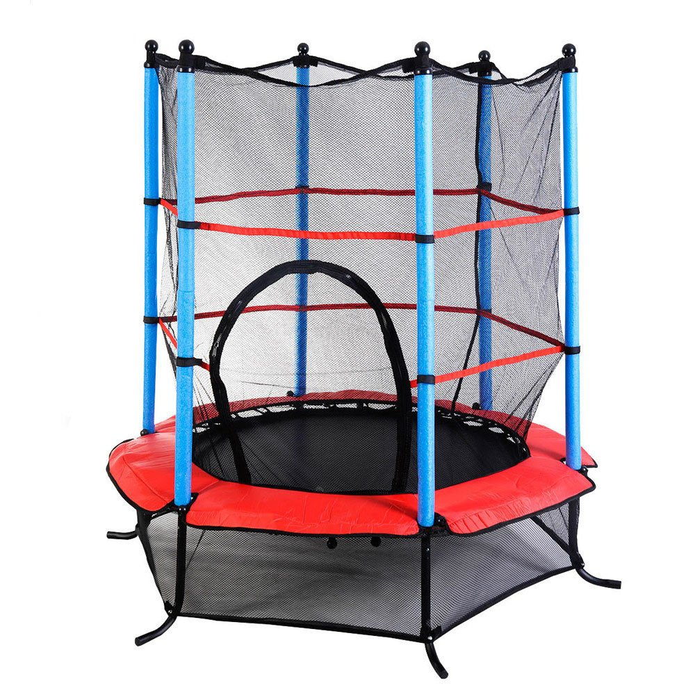 """Marketworldcup- Youth Jumping Round Trampoline 55"""" Exercise W/ Safety Pad Enclosure Combo Kids US Stocks & Warranty! Best Quality !Fastest Shipping !"""