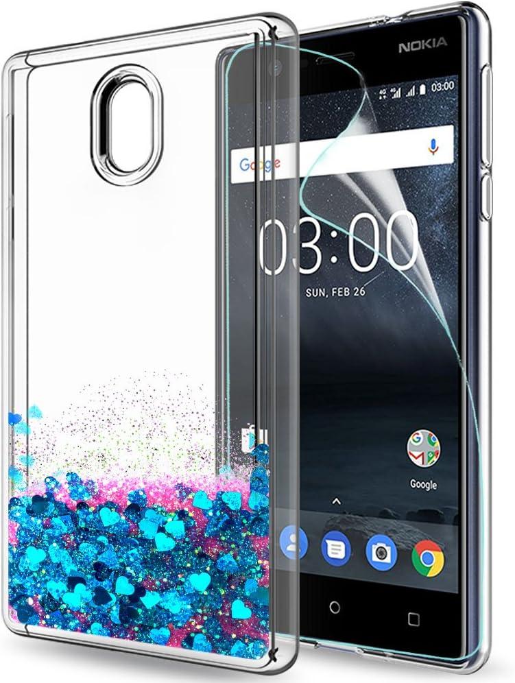 LeYi Funda Nokia 3 Silicona Purpurina Carcasa con HD Protectores de Pantalla,Transparente Cristal Bumper Telefono Gel TPU Fundas Case Cover para Movil Nokia 3 ZX Oro Rosa: Amazon.es: Electrónica