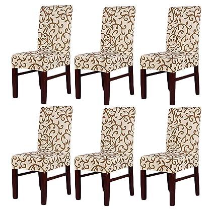 Pack de 6 fundas elásticas para respaldo de silla, lavables, extraíbles, fundas de asiento para hotel, restaurante, sala de comedor, de fiesta