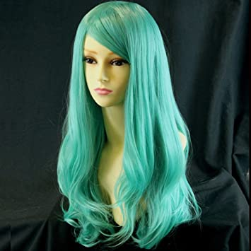 Amazon.com  Heat Resistant Cosplay Long Layes Wavy Mint Green Ladies ... 99d6dbf31159