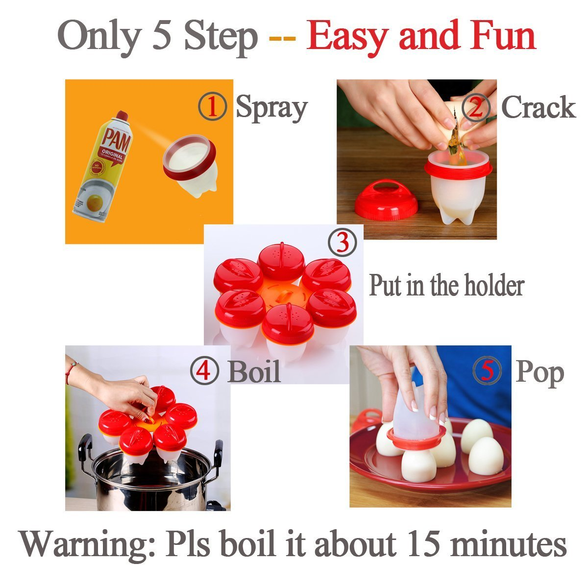 Nonstick Silicone Egg Cooker - Hard Boiled Eggs without the Shell, Eggies AS SEEN ON TV,6 Pack by NICPAY (Image #5)