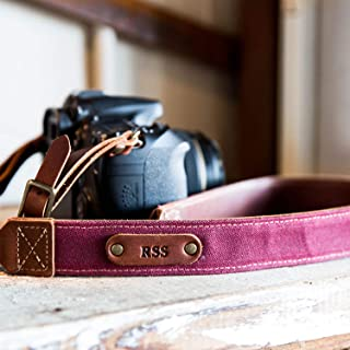 product image for The Nomad Personalized Fine Leather & Canvas Camera Strap in Merlot