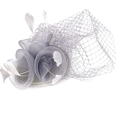 fd0933162bc Veil And Feather Fascinator Hats 3 Pieces Roses With Feather Decoration  Ladies Cocktail Hat  Amazon.co.uk  Clothing