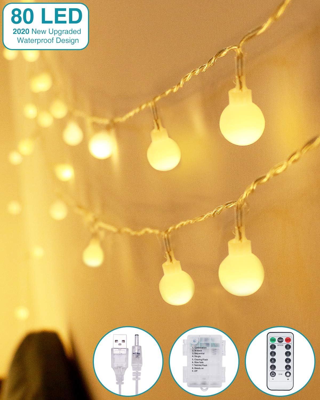 Kolpop Guirnalda Luces Led, 8M 80 LED Guirnaldas 8 Modos Led Luces, Luces Led Decorativas Guirnalda Led Pilas Decoracion Pilas para Exterior, Interior, Jardines, Casas, Boda, Fiesta de Navidad: Amazon.es: Iluminación