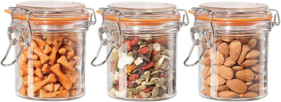 Oggi Round Glass Canisters with Silicone Gasket, 9-Ounce, Clear