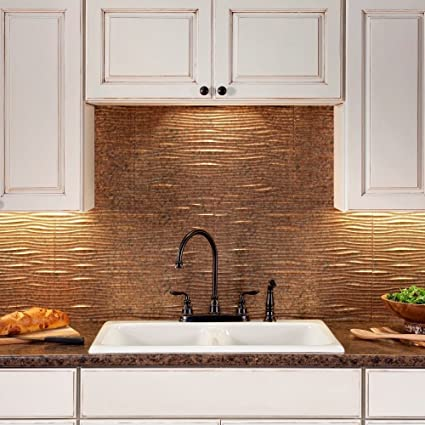 Amazon Com Fasade Easy Installation Waves Cracked Copper Backsplash