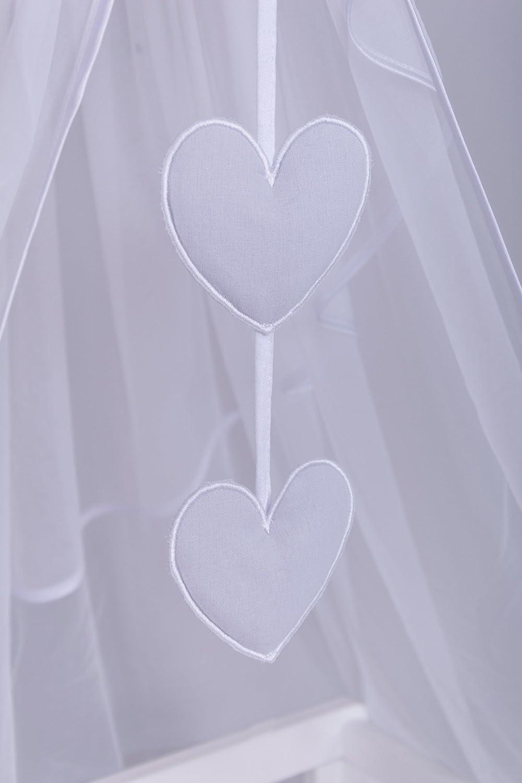 Chiffonhimmel Amilian/® Chiffonhimmel Himmel Betthimmel Stern//Herzen Grau