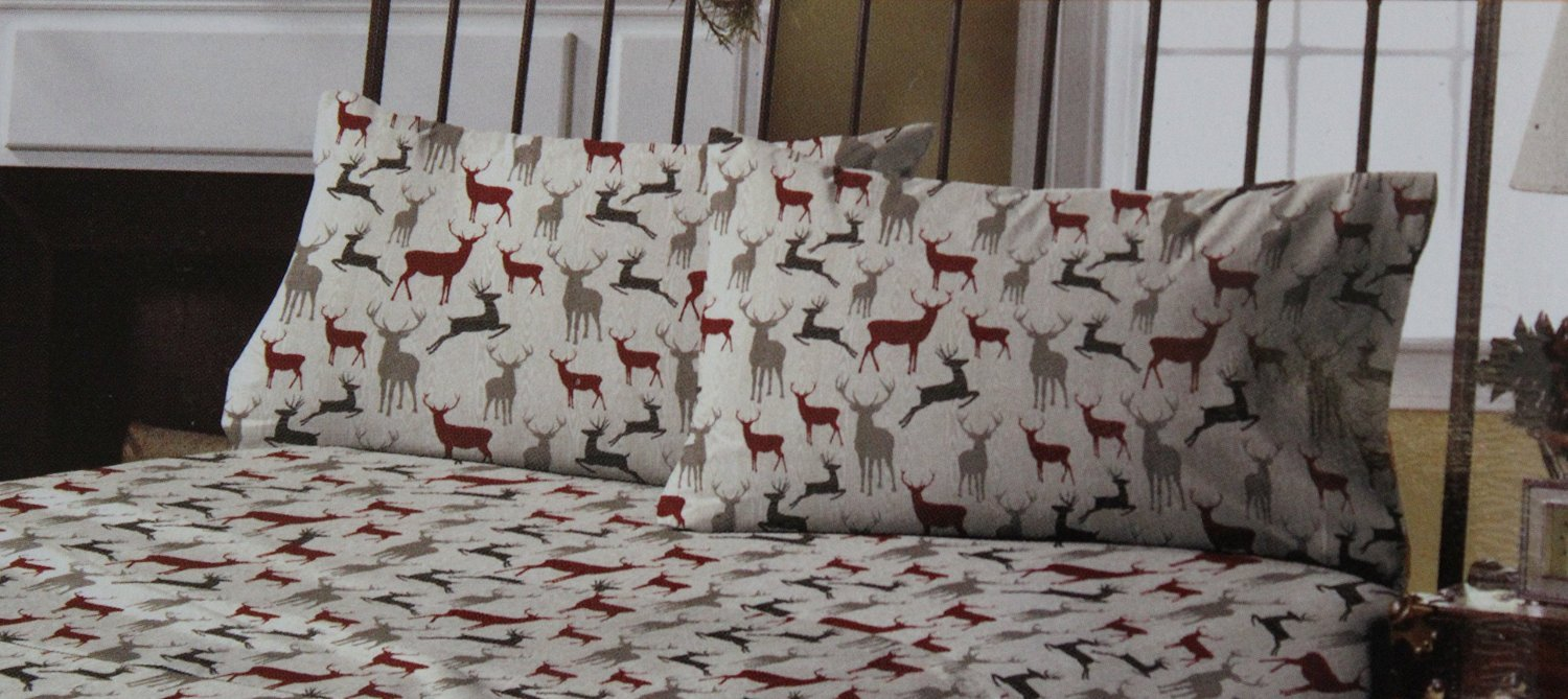 Sunbeam Wood Grain Deer 100% Cotton Queen Flannel Sheets - Includes 1 Flat Sheet, 1 Fitted Sheet and 4 Standard Pillowcases by Sunbeam (Image #3)