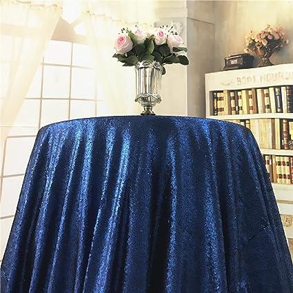 Pleasing Amazon Com Diameter 48 Round Navy Blue Sequin Tablecloths Home Interior And Landscaping Palasignezvosmurscom