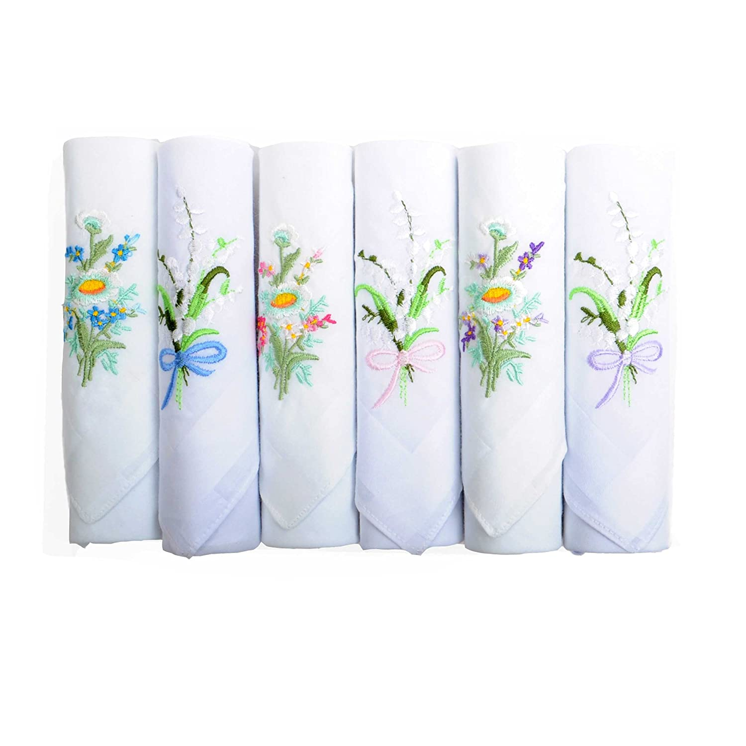Women's Embroidered 100% Cotton Handkerchief 6-pc Gift set